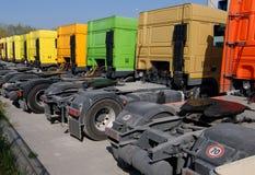 Caminhões estacionados Fotografia de Stock Royalty Free