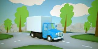 Caminhão de entrega dos desenhos animados Foto de Stock Royalty Free