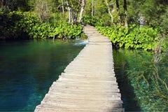 Caminho de madeira em lagos Plitvice Fotografia de Stock