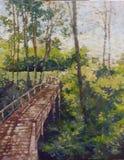 Caminho de madeira na pintura tropical do impressionismo da floresta ilustração do vetor