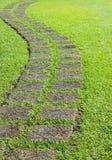 Caminho dos tijolos de pedra na grama. Imagens de Stock