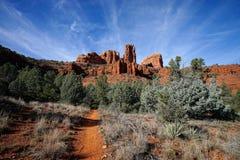 Caminho no deserto que conduz para a montanha da catedral no sedo Fotos de Stock Royalty Free