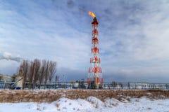 Camini del rafinery polacco dell'olio a Danzica Fotografia Stock Libera da Diritti