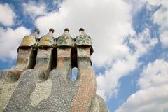 Camini delle case Batllo, Barcellona Immagini Stock Libere da Diritti