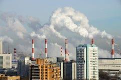Camini di fumo della centrale elettrica Mosca, Russia Fotografia Stock Libera da Diritti