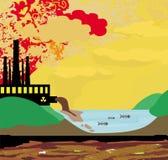 Camini inquinanti l'atmosfera della fabbrica Fotografia Stock Libera da Diritti