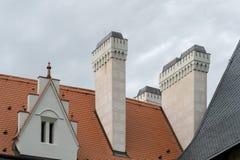 Camini isolati sul tetto del castello di Zleby Fotografie Stock Libere da Diritti