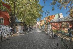 Caminito街道在布宜诺斯艾利斯,阿根廷。 库存照片