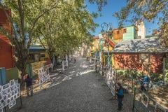 Caminito街道在布宜诺斯艾利斯,阿根廷。 库存图片