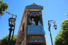 Caminito, одна из самых известных улиц в квартальном Ла Boca в Буэносе-Айрес ареальных стоковые изображения rf