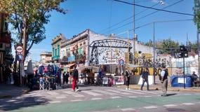 Caminito Comercial区域在布宜诺斯艾利斯 免版税库存照片