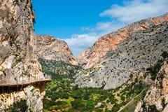 Caminito Del Rey, penhascos na Andaluzia, Espanha imagens de stock