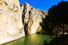 Caminito del Rey  in rocky  canyon. Andalusia Royalty Free Stock Image