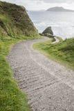 Camino abajo al puerto de Dunquin con la isla de Blasket Fotografía de archivo