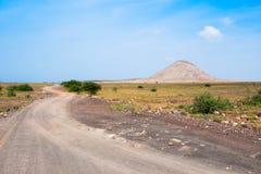 Camino al buracona en la isla Cabo Verde Cabo Verde de la sal Fotografía de archivo