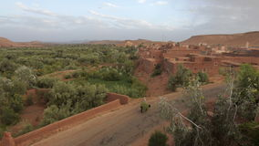 Camino al castillo antiguo de la arcilla cerca de las montañas de Ouarzazate y de atlas en Morroco almacen de metraje de vídeo