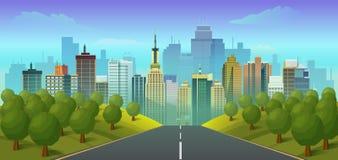 Camino al paisaje de la ciudad ilustración del vector