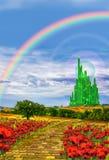 Camino amarillo del ladrillo a Emerald City Imágenes de archivo libres de regalías