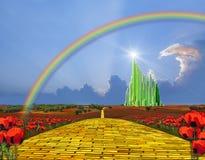 Camino amarillo del ladrillo a Emerald City ilustración del vector