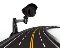 Camino asfaltado con la cámara en blanco Imagen de archivo libre de regalías