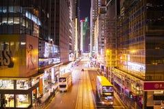 Camino central en la noche, Hong Kong del DES Voeux Imagen de archivo libre de regalías