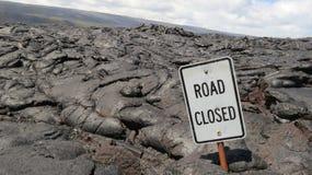 Camino cerrado por la lava Fotos de archivo libres de regalías