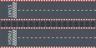 Camino con comienzo y la meta Pista que compite con, karting, visión superior ilustración del vector