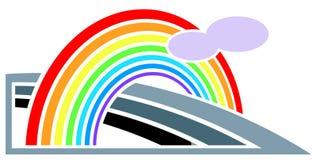 Camino con el arco iris stock de ilustración