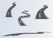 Camino con las rayas blancas en un fondo de la tela escocesa Fije las rutas curvadas Fotografía de archivo