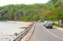 Camino costero en la isla de Mauricio Fotos de archivo libres de regalías