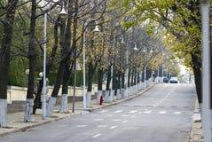 Camino de la caída del otoño en la ciudad del último otoño Imagen de archivo