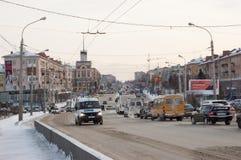 Camino de la central de Omsk Imagenes de archivo