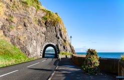 Camino de la costa con el túnel, Irlanda del Norte Foto de archivo libre de regalías