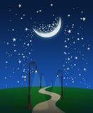 Camino de la fantasía en la noche stock de ilustración