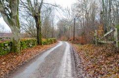 Camino de la grava en un viejo paisaje rural imagenes de archivo