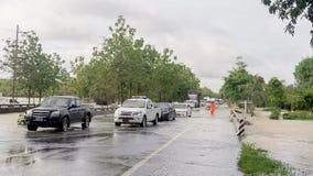 Camino de la inundación en Phatthalung, Tailandia Fotos de archivo