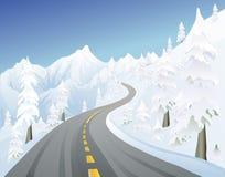 Camino de la montaña del invierno Foto de archivo libre de regalías