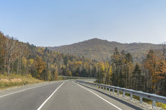 Camino de la montaña en el taiga de Extremo Oriente imagen de archivo libre de regalías