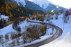 Camino de la montaña en un día soleado, la vista escénica de las montañas suizas durante invierno Foto de archivo