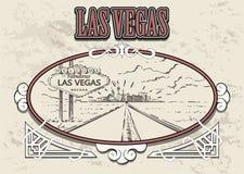 Camino de Las Vegas con bosquejo de la muestra Vector exhausto de la mano de Las Vegas ilustración del vector