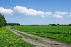 Camino de los granjeros en el campo Fotos de archivo