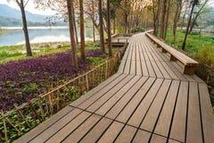 Camino de madera en la costa, centro de ciudad de Hangzhou, China Imágenes de archivo libres de regalías