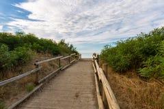 Camino de madera a la playa Foto de archivo