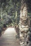 Camino de madera que lleva al bosque tropical con las estatuas terribles del demonio asiático del budismo en estilo del vintage fotos de archivo