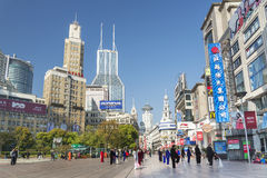 Camino de Nanjing en China de Shangai fotografía de archivo