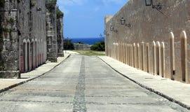 Camino de piedra del adoquín en fortaleza vieja Imagen de archivo