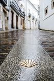 Camino de Santiago de Compostela. Golden yellow scallop shell on a wet street floor. Most famous pilgrimage route in Europe. Vertical caption Royalty Free Stock Photos