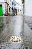 Camino de Santiago de Compostela. Golden yellow scallop shell on a wet street floor. Most famous pilgrimage route in Europe. Vertical caption Royalty Free Stock Photo