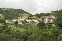 Camino de Santiago de Saint Jean Pied de Port a Roncesvalles através de Valcarlos Foto de Stock Royalty Free