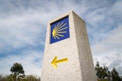 Camino de Santiago milestone. Pilgrimage sign to Santiago de Compostela royalty free stock photo